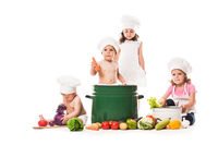 Kids play cook