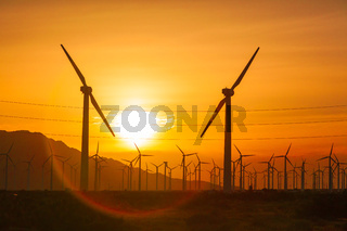 Silhouetted Wind Turbines Over Dramatic Sunset Sky