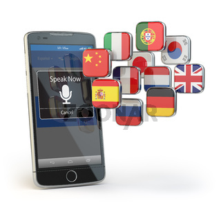 Mobile dictionary or translator concept . Learning languages online. E-learning. Smartphone with flags isolated on white.