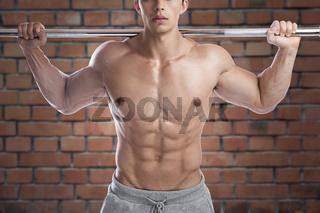 Bodybuilder Bodybuilding Muskeln Mann stark muskulös Ziegelwand Bauchmuskeln Oberkörper