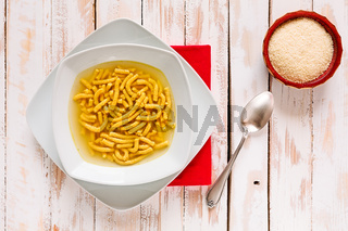 Italian passatelli in broth