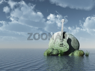 monument e-gitarre auf dem wasser - 3d illustration