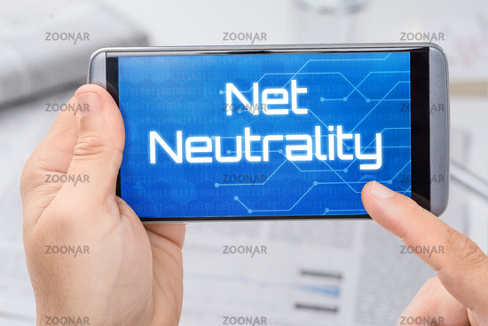 Smartphone with the text Net Neutrality on the display