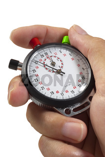stopwatch in hand with timing