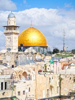Gold-Domed Mosque on Jerusalem Skyline