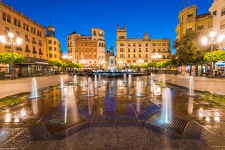 Plaza de las Tendillas in Cordoba, Spain illuminated at evening