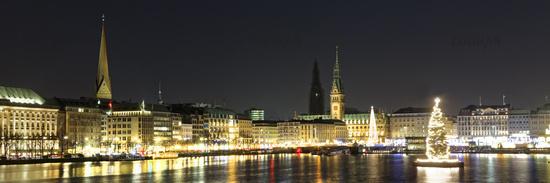 Binnenalster mit Alstertanne und Rathaus zur Weihnachtszeit in Hamburg, Deutschland, Europa