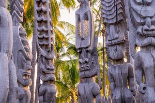 Wooden Hawaiian historical indigenous statues