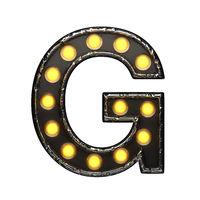 g metal letter with lights. 3D illustration