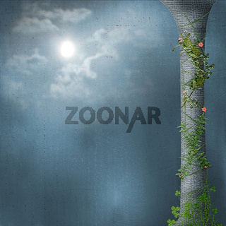 Stone column. Liana with flowers. Bright moon