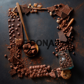 frame of chocolates