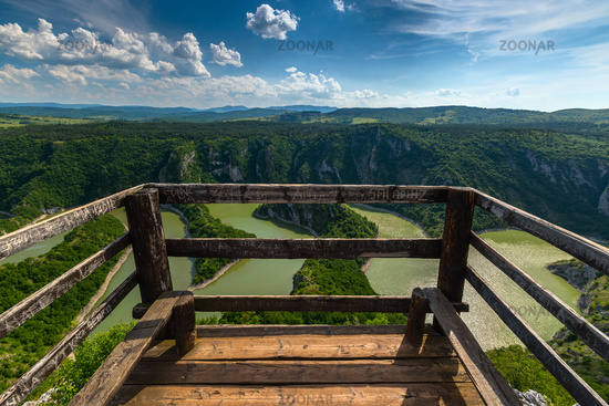 meanders at rocky river Uvac river in Serbia