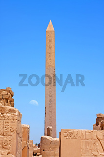 Luxor temple with moon