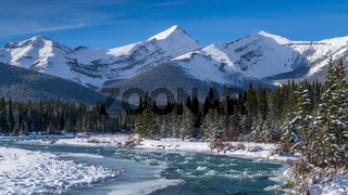 A freezing river in the Canadian Rockies