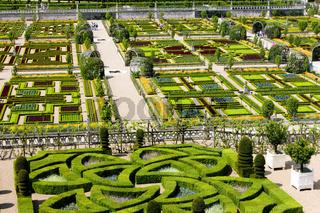 Villandry Castle's garden, Indre-et-Loire, Centre, France