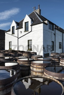 Gebrauchte Burbon-Whiskyfässer lagern auf dem Gelände der Whisky-Brennerei Ardbeg