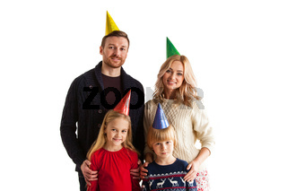 Family in cone hats