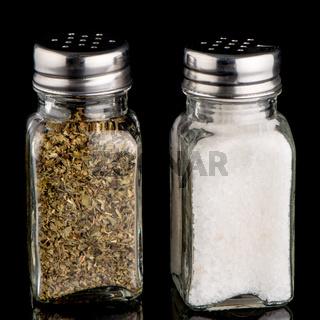 Salt and oregano shakers