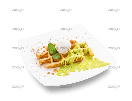 Sweet waffle dessert with cream