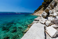 Wonderful Adriatic Sea with Deep Blue Water near Split, Croatia