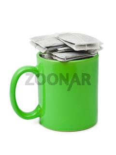 Tea bags in cup
