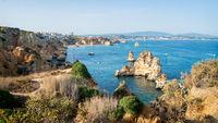 Landscape view of the shoreline of Lagos coasts, Algarve, Portugal.