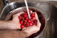 male hands wash cherries under running water in kitchen