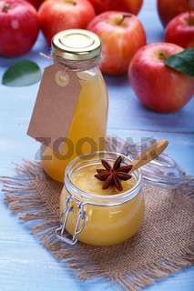 Ripe apples and juice