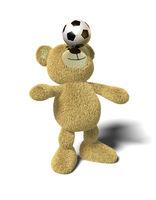Nhi Bear balances soccer ball on nose, front