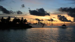 Twilight on a tropical island, Maldives