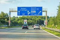 freeway road sign on Autobahn A81, Stuttgart / Vaihingen - Karlsruhe / Heilbronn / Munich