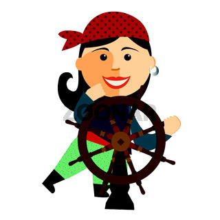 pirate girl at the rudder flat cartoon vector illustration. Eps10. Isolated on a white background.