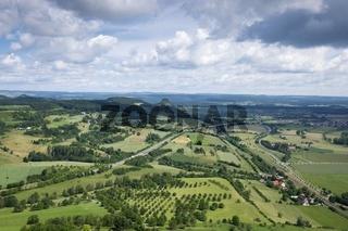 Ausblick vom Hohentwiel hinab in die Vulkanlandschaft Hegau