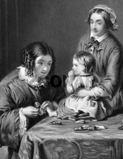 Mother trying new shoes to her child on engraving from 1866. Engraved by H.Bourne after a painting by W.P.Frith.