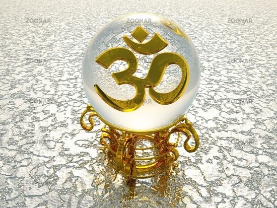 Goldenes 3D Orakel mit OM Symbol
