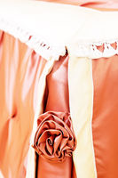 Artificial fabric rose bed decoration close up