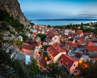 Aerial View of Omis and Church of the Holy Cross in the Evening, Omis, Dalmatia, Croatia