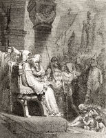 An auto-da-fé or auto-de-fé, the ritual of public penance of condemned heretics and apostates