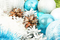 New year silver and blue decorations on white background