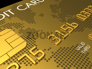 Gold credit card, macro 3D render