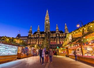 VIENNA, AUSTRIA - DECEMBER 29, 2016: Christmas Market near City Hall on December 29, 2016 in Vienna Austria