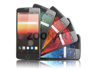 Smartphones with different screens isolated on white. Mobile communications concept.