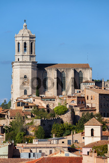 City of Girona cityscape with Cathedral of Saint Mary of Girona in Catalonia