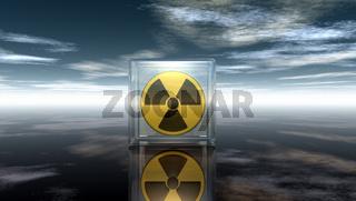 symbol für radioaktiv unter wolkenhimmel - 3d illustration
