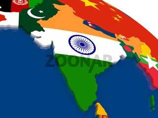 India on 3D map with flags