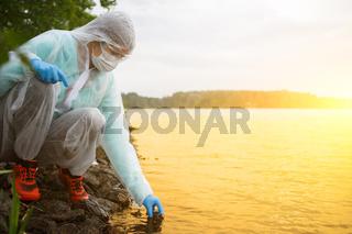 Photo of chemist near river