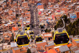 Yellow cable cars in La Paz, Bolivia