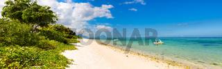 Sandy tropical beach. Panorama.