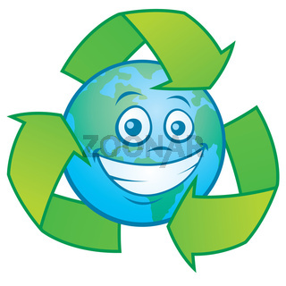 Earth Cartoon With Recycle Symbol