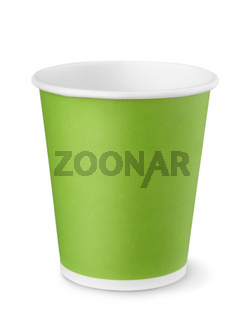 Front view of green paper cup